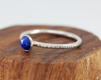 Sterling Silver&Lapis Lazuli Ring|September Birthstone Ring|Faceted Lapis Lazuli Ring|Blue Stone Ring|Lapis Lazuli Ring|Gift for Her