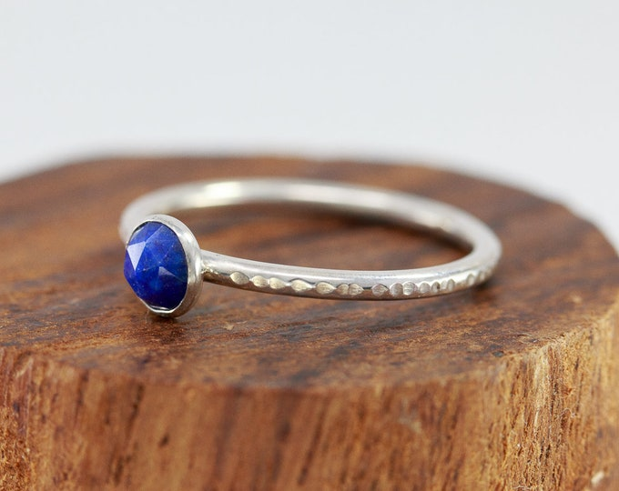 Sterling Silver&Lapis Lazuli Ring|September Birthstone Ring|Faceted Lapis Lazuli Ring|Blue Stone Ring|Lapis Lazuli Ring|Gift for Her