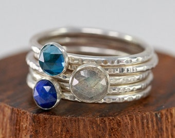 Sterling Silver Gemstone Ring Set|Set of 5 Sterling Silver Rings with Labradorite, Blue Topaz&Lapis Lazuli|Blue Gem Rings|Gift for Mothers
