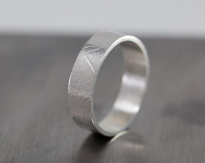 Sterling Silver Leaf Patterned Ring|Sterling Silver Patterned Ring|Silver Leaf Ring|Botanic Ring|Floral Ring| Unisex Ring|Gift for Her