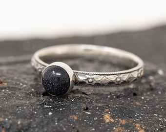 Sterling Silver & Blue Goldstone Ring, Sterling Silver Floral Ring, Deep Blue Stone Ring, Energy Stone Ring, Gift for Her, Inspiration Ring