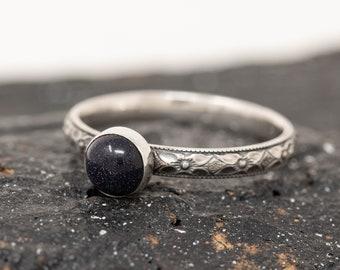 Sterling Silver & Blue Goldstone Ring, Sterling Silver Floral Ring, Deep Blue Stone Ring, Energy Stone Ring, Gift for Her, Inspiration Ring