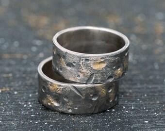 8mm Sterling Silver & 24K gold Keum Boo Couples Ring Set,OOAK Wedding Ring Set Handmade Wedding Bands Organic Rings Wedding Ring Set