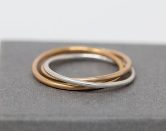 Sterling Silver n Gold Filled Russian Wedding Band|Trio Coloured Russian Wedding Ring|Russian Wedding Ring|Trinity Ring|Gift for Her