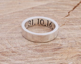 Sterling Silver Anniversary Ring|Silver Band Ring|Message Ring|Initial Ring|Anniversary Ring|Unisex Silver Ring|Gift for Him|Gift for Her