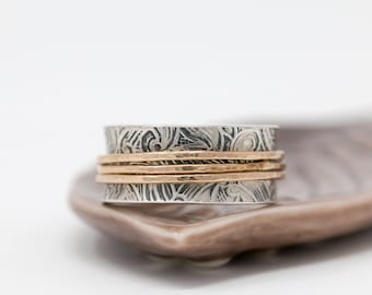 Sterling Silver&Gold Filled Spinner Ring|Floral Silver Spinner Ring|Silver Floral Spinner Ring|Worry Ring|Textured Ring|Meditation Ring