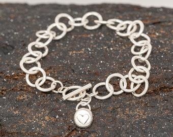 Sterling Silver Heart Bracelet|Sterling Silver Links Bracelet|Handmade&Hammered Bracelet|Gift for Mothers|Anniversary Gift|Gift for Her
