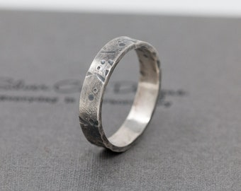4MM Sterling Silver Celestial Ring, Textured Ring, Rustic Silver Ring, Handmade Ring Band, Thumb Ring, Gift for Him, Gift for Her