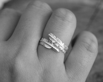 Sterling Silver Angel Feather Ring, Adjustable, U.K. Size L-R U.S. Size 6-9, Silver Feather Ring, Silver Statement Ring, Gift for Her