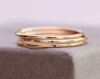 14K Gold Filled Dimpled Rings|Set of 3 Gold Filled Rings|Gold Filled Rings|Minimalist Rings|Gold Minimalist Rings|Gold Stacking Rings