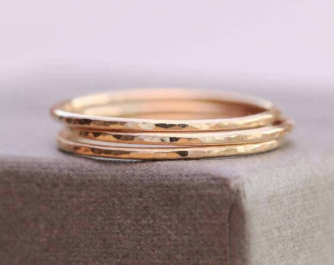 14K Gold Filled Dimpled Rings|Set of 3 Gold Filled Rings|Gold Filled Rings|Minimalist Rings|Gold Minimalist Rings|Gold Stacking Rings