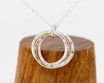Sterling Silver & 9ct Gold 3 Circles Necklace, Russian Ring Necklace, Trinity Necklace, 30th Birthday Gift, Gift for Mother, Gift for Her