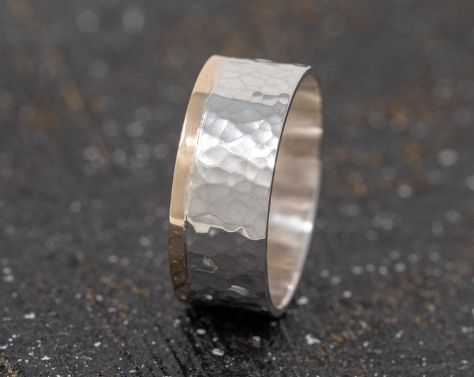 8mm Sterling Silver&9ct Gold Wedding Band|Mixed Metal Ring Band|Textured Ring Band|Minimalist Ring|Minimalist Band|Mens Ring|Gift for Him