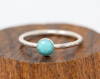 Sterling Silver& Turquoise Ring||December Birthstone Ring|Turquoise Ring|Blue Gemstone Ring|Blue Ring|Birthstone Gift|Gift for Her
