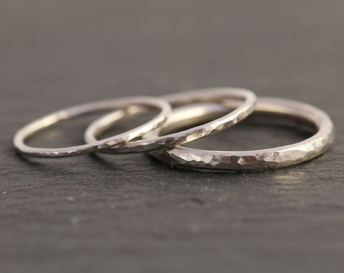 Sterling Silver Textured Ring, Silver Midi Ring, Silver Stacking Ring, Dainty Ring, Minimalist Ring, Hammered Ring, Gift for Her