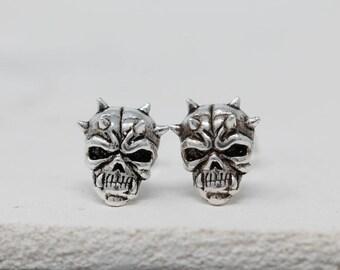Sterling Silver Skull Earrings|Silver Skull Earrings|Skull Earrings|Skull Stud Earrings|Darth Maul Earrings|Unisex Earrings|Gift for Him