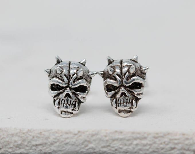 Sterling Silver Skull Earrings Silver Skull Earrings Skull Earrings Skull Stud Earrings Darth Maul Earrings Unisex Earrings Gift for Him