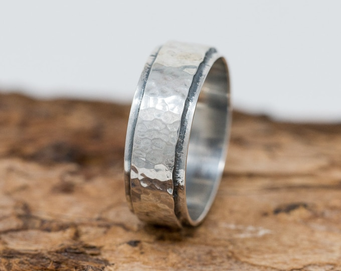 Wide Sterling Silver Unisex Ring|Sterling Silver Ring|Rustic Ring|Unisex Ring|Rustic Silver Ring|Thumb Ring|Gift for Her|Gift for Him