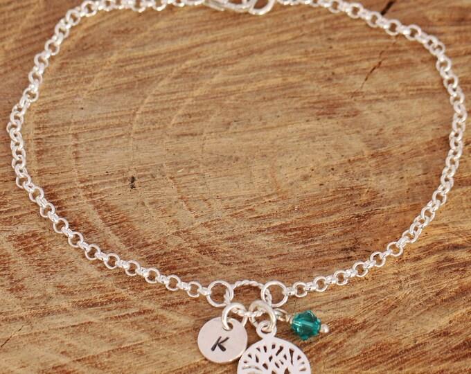 Sterling Silver Tree of Life Bracelet, Silver Tree Bracelet, Tree of Life Bracelet, Initial Bracelet, Birthstone Bracelet, Gift for Mums