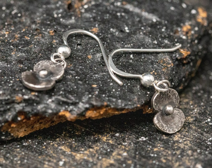 Sterling Silver Poppy Earrings|Poppy Earrings|Remembrance Poppy Earrings|Poppy Drop Earrings|Poppy Flower Earrings|Gift for Her