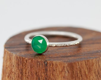 Sterling Silver& Green Onyx Ring|Sterling Silver Green Ring|May Birthstone Ring|Green Gem Ring|May Birthstone Gift|Gift for Her