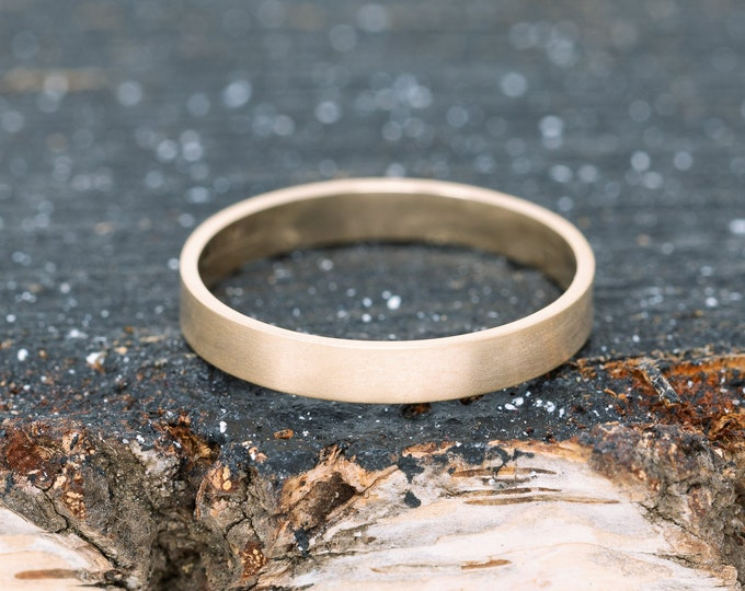 SOLID 9ct Yellow Gold Flat Wedding Ring|3MM Wide Gold Wedding Ring|Gold Wedding Ring|Gold Wedding Band|Wedding Ring|Wedding Band|Unisex Ring