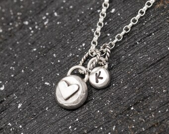 Personalised Sterling Silver Heart Necklace|Heart Necklace|Love Heart Necklace|Tough Heart Necklace|Small Rustic Heart Necklace|Gift for Her