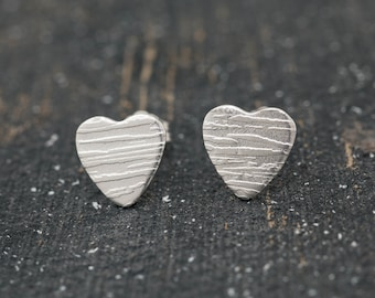 10mm Sterling Silver Textured Heart Stud Earrings, Love Heart Earrings, Heart Studs, Handmade Earrings, Gift for Her, Mother's Day Gift