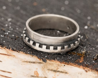Sterling Silver Mens Ring|Sterling Silver Crown Ring|Castle Ring|Mens Ring|Rustic Ring|Unisex Ring|Statement Ring|Gift for Him|Gift for Her