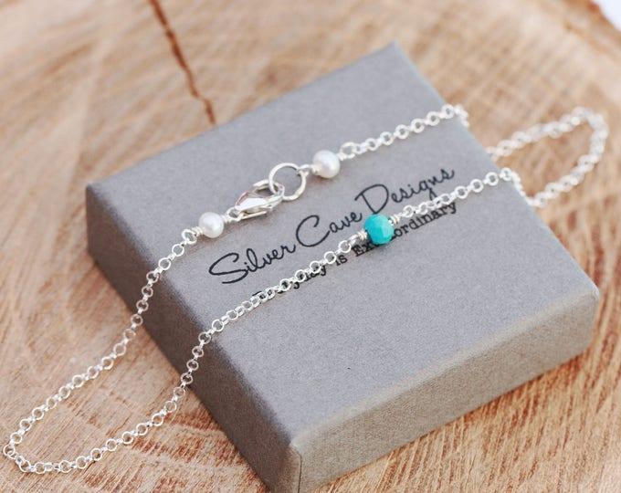 Sterling Silver Anklet|Turquoise Anklet|Turquoise and Pearls Anklet|December Birthstone Anklet|Something Blue Anklet|Bridal Anklet|Anklet