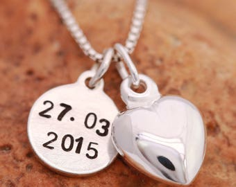 Sterling Silver Date Necklace, Sterling Silver Heart Necklace, Anniversary Necklace,Birthday Date Necklace, Date Necklace, Gift for Her