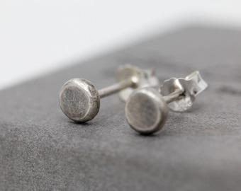 Sterling Silver Small Disc Earrings, Mini Dot Stud Earrings, Minimalist Rustic Earrings, Unisex Studs, Mens Earrings, Gift for him or her