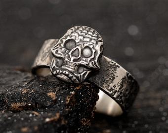 Sterling Silver Skull Ring, Sugar Skull Ring, Gothic Scheme Ring, Handmade Mens Ring Band, Biker Ring, Halloween Jewellery, Gift for Him