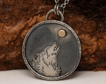 Handmade Sterling Silver and 9ct Yellow Gold Howling Wolf Pendant Necklace, Wolf Necklace, Wolf and Full Moon Necklace, OOAK Jewellery