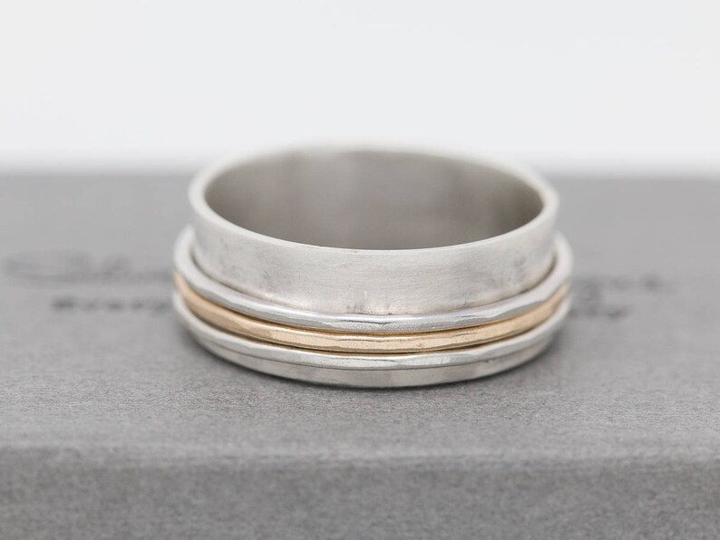 Sterling Silver/&Gold Filled Spinner Ring Spinner Ring Silver Spinner Ring Fidget Ring Textured Ring Worry Ring Meditation Ring Gift for Her