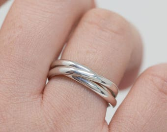 Sterling Silver Russian Wedding Ring|Sterling Silver Russian Wedding Band|Sterling Silver Russian Ring|Silver Trinity Ring|Gift for Her