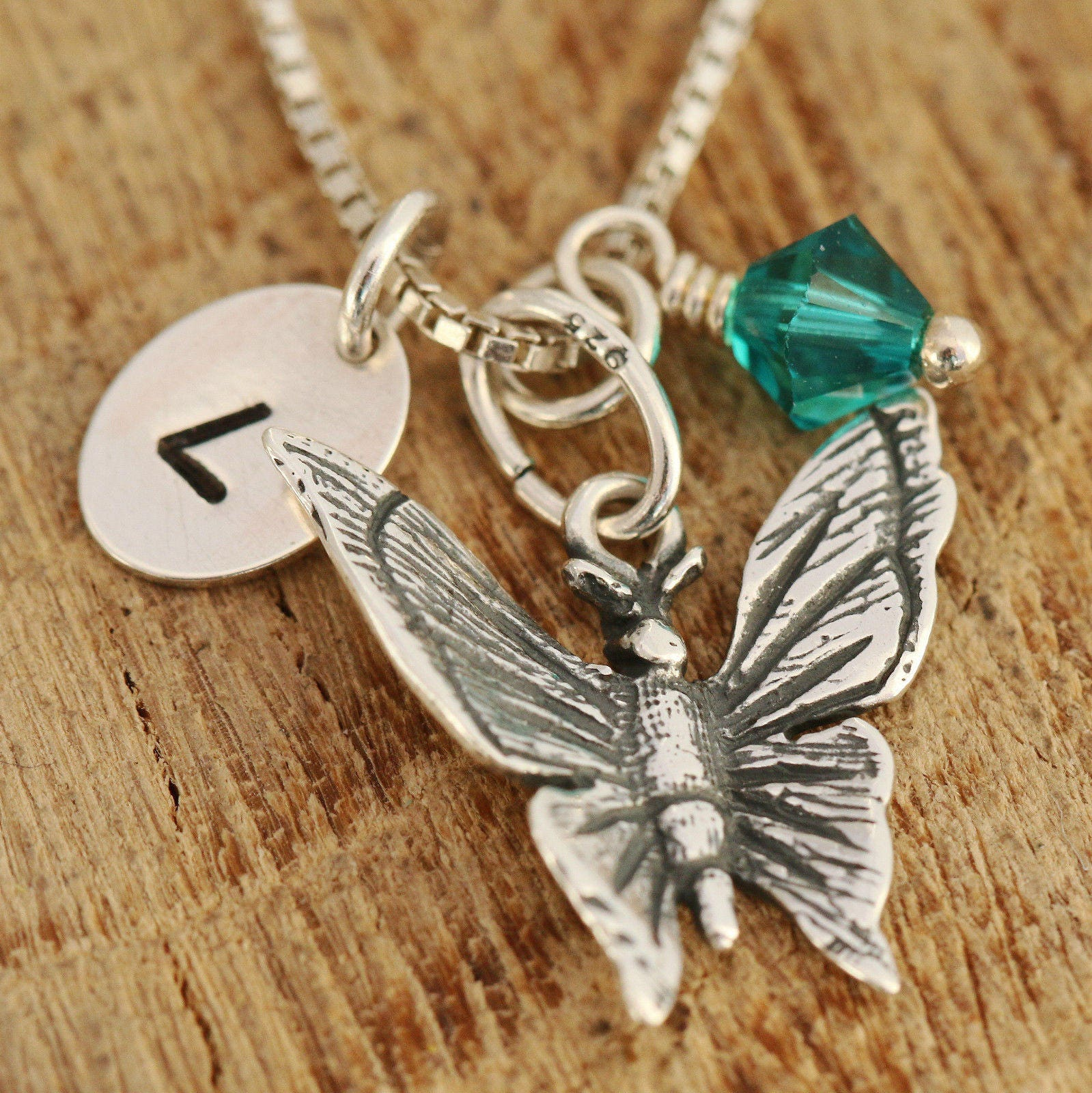 Sterling silver butterfly necklace silver butterfly necklace sterling silver butterfly necklace silver butterfly necklace birthstone necklace initial necklace gift for her aloadofball Image collections