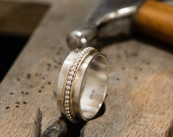Sterling Silver&Gold Filled Spinner Ring|Spinner Ring|Sterling Silver Spinner Ring|Fidget Ring|Textured Ring|Worry Ring|Gift for Her