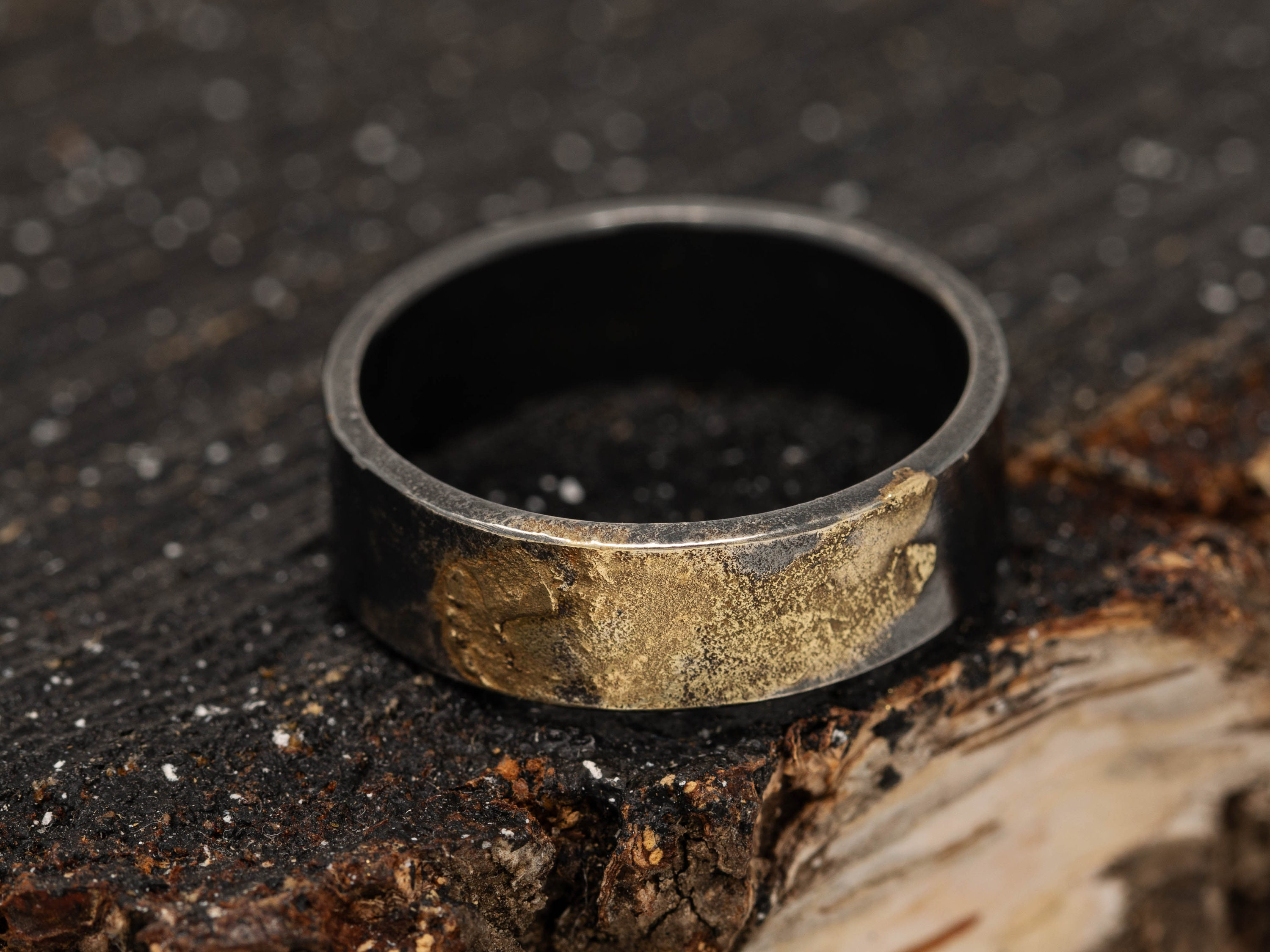 6MM Sterling Silver/&24K Gold Keum Boo Rustic Ring|Mens Rustic Band|Organic Wedding Ring|Unisex Ring|Rustic Ring|Gift for Him|Gift for Her