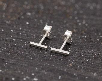 Pair of Sterling Silver Bar Stud Earrings, Unisex, Sterling Silver Staple Earrings, Sterling Silver Stick Studs, Minimalist Earrings