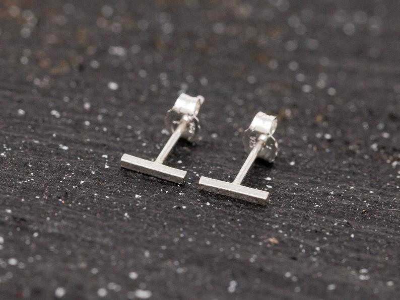 Pair of Sterling Silver Bar Stud Earrings Unisex Sterling image 0