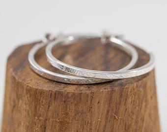 Sterling Silver Half Loop Earrings|Sterling SilverLeaf Patterned Earrings| Silver Loop Earrings|Silver Botanic Earrings|Gift for Her