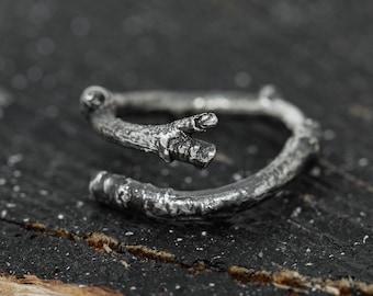 Rustic Sterling Silver Twig Ring, Organic Twig Ring, Adjustable Twig Ring, Sterling Silver Branch Ring, Adjustable Silver Ring, Gift for Her