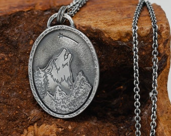 Handmade Sterling Silver Lone Wolf Pendant Necklace, Lonely Wolf and Shooting Star Necklace, Jack London, Gift for Her, Gift for Him