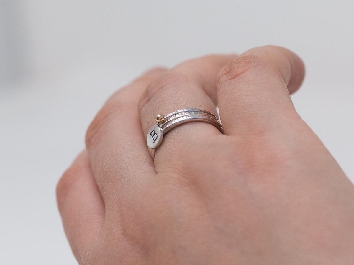 Sterling Silver&9ct Gold Ring Set|Initial Ring Set|Set of 3 Rings ...