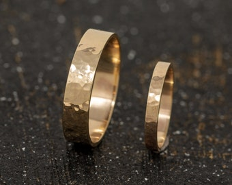 9ct Yellow Gold Textured Wedding Ring Set, Gold Wedding Bands, Handmade promise rings, Matching Couple Rings, Couple Gold Rings