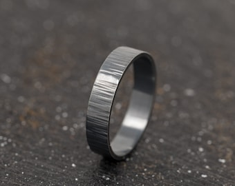 Rustic Sterling Silver Ring|Black Ring|Sterling Silver Black Ring|Unisex Ring|Sterling Silver Ring|Textured Ring|Gift for Him|Mens Ring