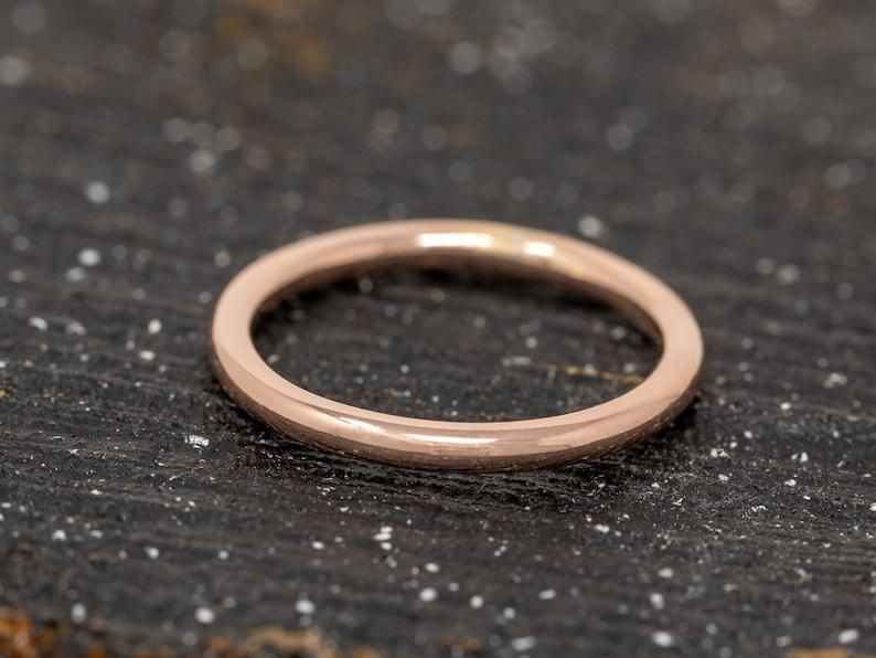 SOLID 9ct Rose Gold Ring2MM Gold Wedding RingRose Gold image 0