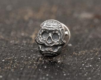 Sterling Silver 3D Skull Tie Pin, Skull Suit Pin, Skull Brooch, Unisex Skull pin, Skull Winter Jewellery, Gift for Him, Gift for Her