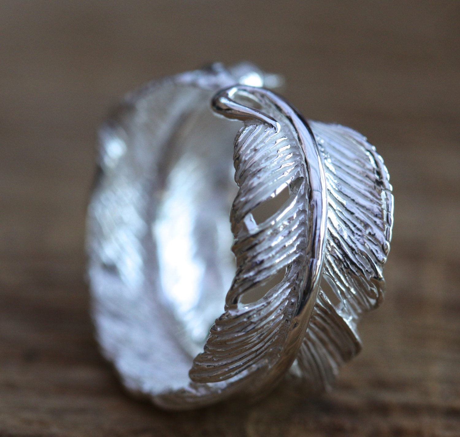 925 Sterling Silver Angel Wing Feather  Adjustable Ring   Size L-R Gift Boxed